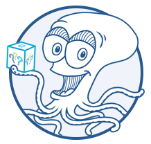 Ollie the octopus holding a question box.