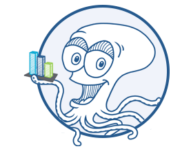 Ollie the octopus holding a bar chart